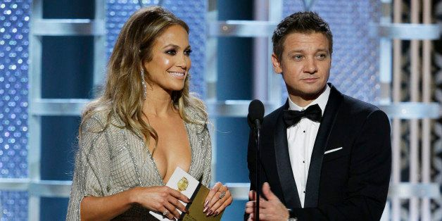 BEVERLY HILLS, CA - JANUARY 11:  In this handout photo provided by NBCUniversal, Presenters  Jennifer Lopez and Jeremy Renner