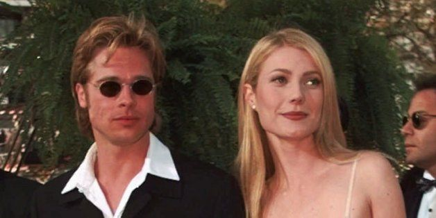 Actress Gwyneth Paltrow and actor Brad Pitt arrive at the Academy Awards in Los Angeles, March 25, 1996.  (AP Photo/Kevork Dj