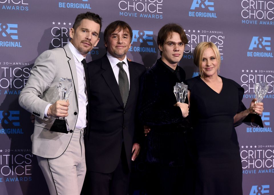 "Ethan Hawke, from left, Richard Linklater, Ellar Coltrane and Patricia Arquette, of ""Boyhood"", pose with the best picture"