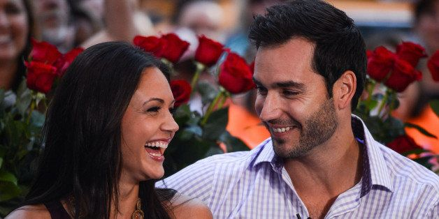 NEW YORK, NY - AUGUST 06:  TV personalities Desiree Hartsock (L) and Chris Siegfried tape an interview at 'Good Morning Ameri