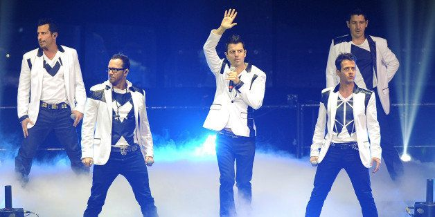 Danny Wood, Joey McIntyre, Donnie Wahlberg, Jordan Knight,  and Jonathan Knight of New Kids on the Block perform during the P
