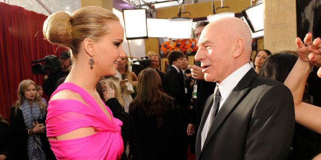 Jennifer Lawrence and Patrick Stewart arrives at the TNT/TBS broadcast of the 17th Annual Screen Actors Guild Awards held at