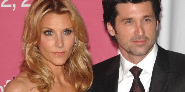 "Actor Patrick Dempsey and wife Jillian Dempsey arrive at the premiere of ""Made of Honor"" at the Ziegfeld Theater on Monday, A"