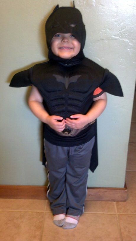 This undated image released by Make-A-Wish Greater Bay Area, shows five-year-old Miles Scott dressed as batman. With the help