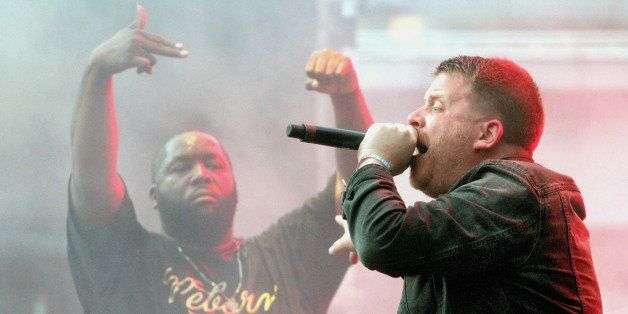 TORONTO, ON - JUNE 22:  (L-R) Killer Mike and El-P of Run The Jewels performs at Dundas Square for North By Northeast (NXNE)