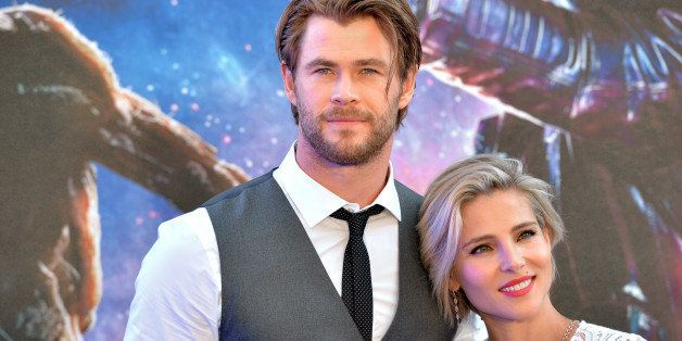 LONDON, ENGLAND - JULY 24:  Chris Hemsworth and Elsa Pataky attend the UK Premiere of 'Guardians of the Galaxy' at Empire Lei