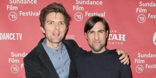 PARK CITY, UT - JANUARY 23:  Actors Adam Scott (L) and Jason Schwartzman arrive at 'The Overnight' premiere during the 2015 S