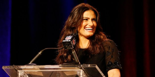 PHOENIX, AZ - JANUARY 29: Actress and singer-songwriter Idina Menzel speaks during the Super Bowl XLIX Pregame Show Press Conference on January 29, 2015 in Phoenix, Arizona. (Photo by Christian Petersen/Getty Images)