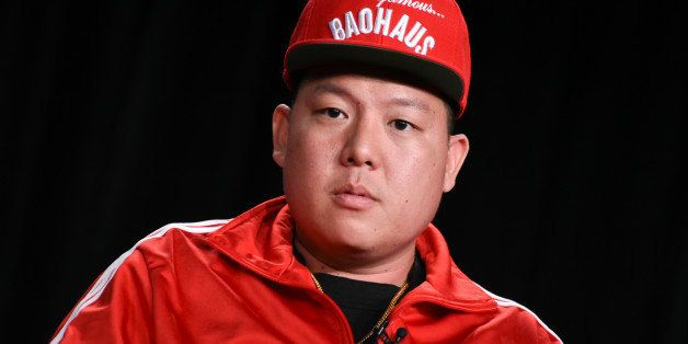 """Eddie Huang speaks on stage during the """"Fresh Off the Boat"""" panel at the Disney/ABC Television Group 2015 Winter TCA on Wedne"""