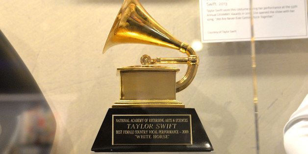 LOS ANGELES, CA - DECEMBER 12:  Atmosphere shot of a GRAMMY Award belonging to Taylor Swift at media preview day of 'The Tayl