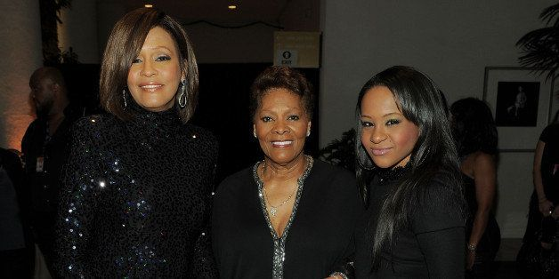 BEVERLY HILLS, CA - FEBRUARY 12:  (EXCLUSIVE COVERAGE) (L-R) Singer Whitney Houston, Singer Dionne Warwick and Bobbi Kristina