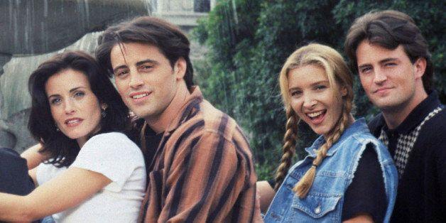 FRIENDS -- Season 1 -- Pictured: (l-r) Jennifer Aniston as Rachel Green, David Schwimmer as Ross Geller, Courteney Cox as Mon