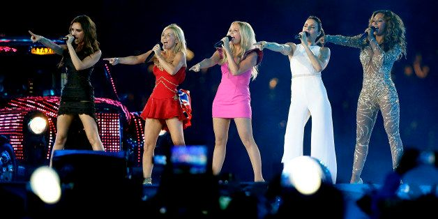 The Spice Girls perform during the Closing Ceremony at the 2012 Summer Olympics, Sunday, Aug. 12, 2012, in London. (AP Photo/