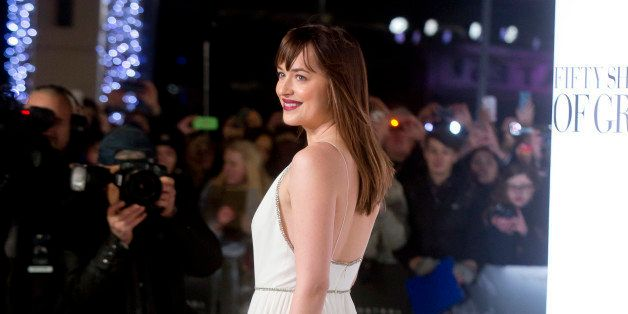 LONDON, UNITED KINGDOM - FEBRUARY 12: Dakota Johnson attends the UK Premiere of 'Fifty Shades Of Grey' at Odeon Leicester Squ