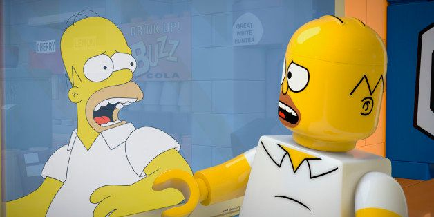 "This image released by FOX shows character Homer Simpson, from the animated series, ""The Simpsons,"" as a Lego figure in episo"