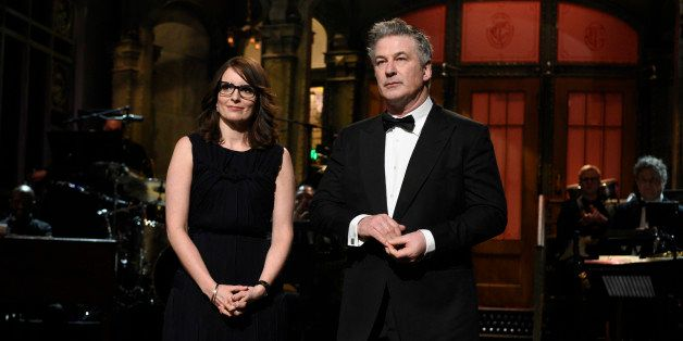 SATURDAY NIGHT LIVE 40TH ANNIVERSARY SPECIAL -- Pictured: (l-r) Tina Fey, Alec Baldwin during the Tracy Morgan Moment on Febr