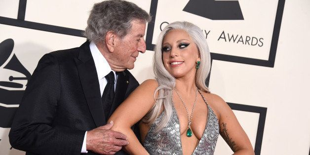 Tony Bennett, left, and Lady Gaga arrive at the 57th annual Grammy Awards at the Staples Center on Sunday, Feb. 8, 2015, in L