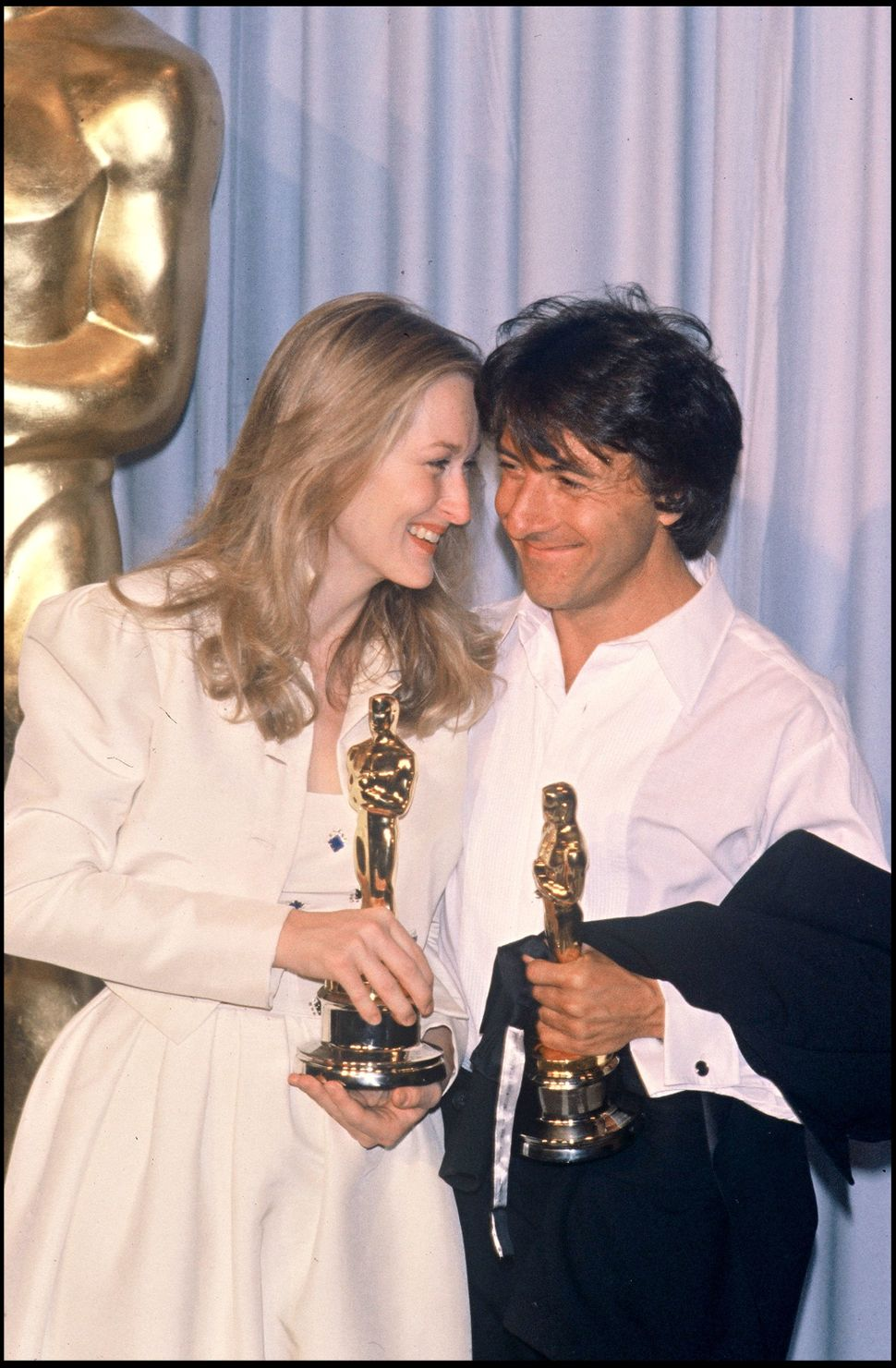 Meryl Streep and Dustin Hoffman celebrate their wins at the 52nd annual Academy Awards in 1980.