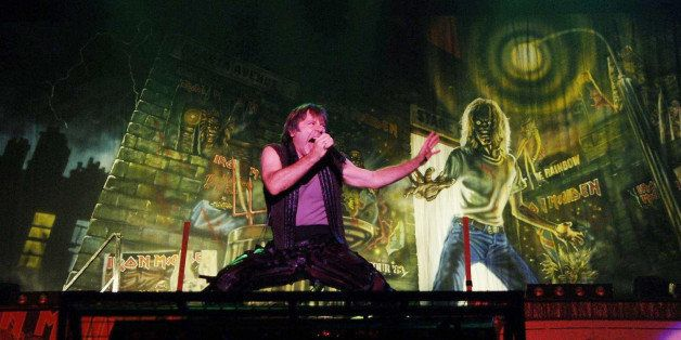 NO MERCHANDISING: Bruce Dickinson of Iron Maiden performing on the Main Stage at the Reading Festival, Sunday 28 August 2005.