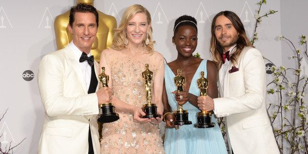 HOLLYWOOD, CA - MARCH 02:  (L-R) Actors Matthew McConaughey winner of Best Performance by an Actor in a Leading Role, Cate Bl