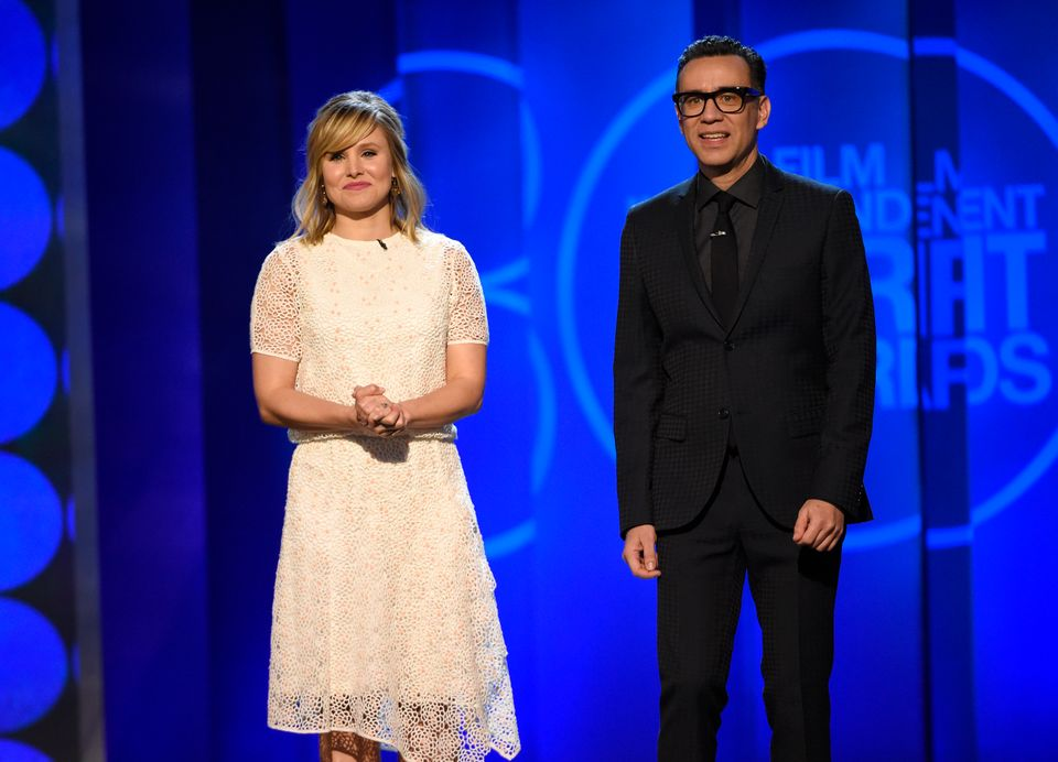 Hosts Kristen Bell, left, and Fred Armisen speak at the 30th Film Independent Spirit Awards on Saturday, Feb. 21, 2015, in Sa