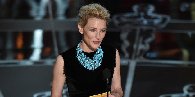 Cate Blanchett presents the award for best actor in a leading role at the Oscars on Sunday, Feb. 22, 2015, at the Dolby Theat