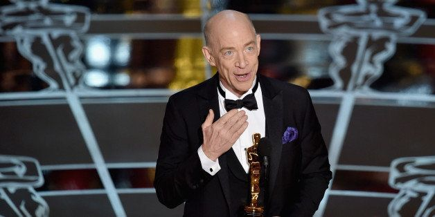 HOLLYWOOD, CA - FEBRUARY 22:  Actor J.K. Simmons accepts the Actor in a Supporting Role Award for 'Whiplash' onstage during t
