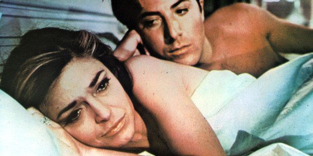 Anne Bancroft in bed with Dustin Hoffman in a scene from the film 'The Graduate', 1967. (Photo by Embassy Pictures/Getty Imag