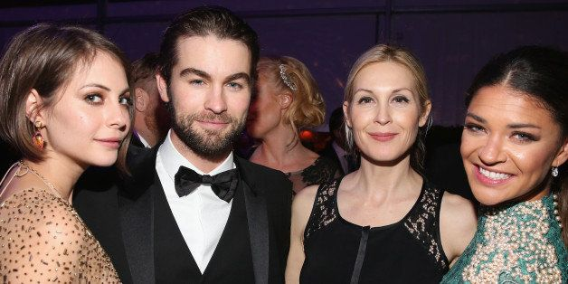 LOS ANGELES, CA - FEBRUARY 22:  (2ndL-R) Actors Chace Crawford, Kelly Rutherford and Jessica Szohr attendROCA PATRON TEQUILA