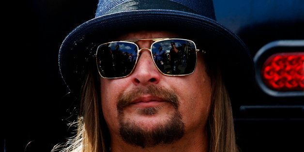 DAYTONA BEACH, FL - FEBRUARY 22:  Recording Artist Kid Rock takes part in pre-race ceremonies for the NASCAR Sprint Cup Serie