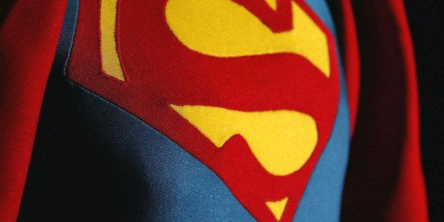 LONDON - DECEMBER 16:  Christopher Reeve's costume from 'Superman' is seen on display at an auction at Christie's auction hou