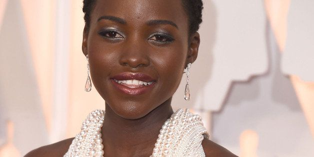 HOLLYWOOD, CA - FEBRUARY 22:  Lupita Nyong'o arrives at the 87th Annual Academy Awards at Hollywood & Highland Center on Febr