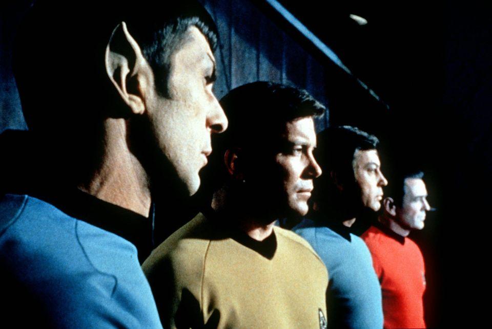 """Actors in the TV series """"Star Trek,"""" from left, Leonard Nemoy as Commander Spock, William Shatner as Captain Kirk, DeForest K"""