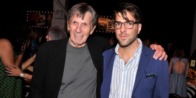 NEW YORK, NY - JUNE 04:  Actors Leonard Nimoy (L) and Zachary Quinto attend the Sundance Institute New York Benefit 2014 at S