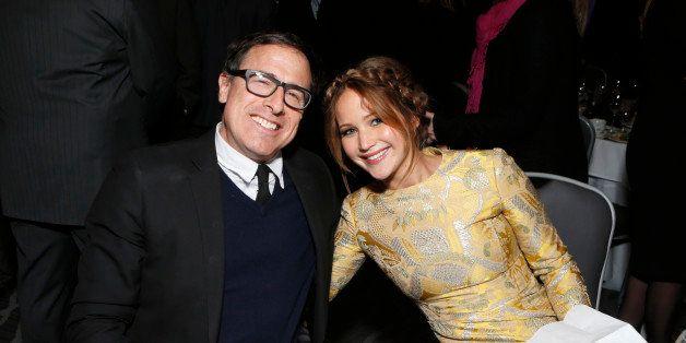 David O. Russell and Jennifer Lawrence attend the LA Film Critics Association Awards at the InterContinental Hotel on Saturda