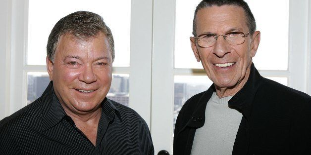 LOS ANGELES - AUGUST 9:  Actors William Shatner (L) and Leonard Nimoy (R) promote the 'Star Trek' 40th Anniversary on the TV