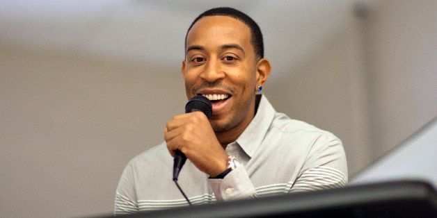 Rapper Ludacris speaks during a visit to the charter school students at Utopian Academy for the Arts, Friday, Sept. 26, 2014,