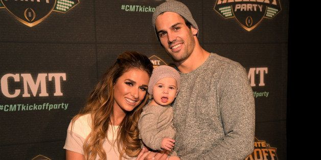 DALLAS, TEXAS - JANUARY 09: Jessie James Decker (left) and Eric Decker (right) attend the CMT ULTIMATE KICKOFF PARTY LIVE FRO