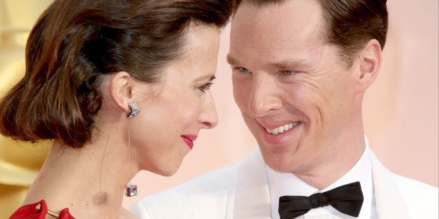 HOLLYWOOD, CA - FEBRUARY 22: (L-R) Sophie Hunter and Benedict Cumberbatch arrive at the 87th Annual Academy Awards at Hollywo