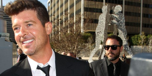 LOS ANGELES, CA - MARCH 04:  Musician Robin Thicke is seen outside the Roybal Federal Building on March 4, 2015 in Los Angele