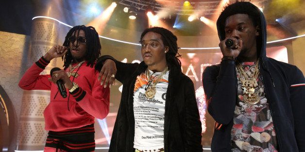 NEW YORK, NY - DECEMBER 12:  Recording artist Migos perform during  106 & Party at BET studio on December 12, 2014 in New Yor