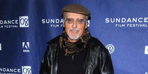 "Actor Dennis Hopper arrives at the premiere of ""Sleepwalking"" during the Sundance Film Festival, Tuesday, Jan. 22, 2008, in P"