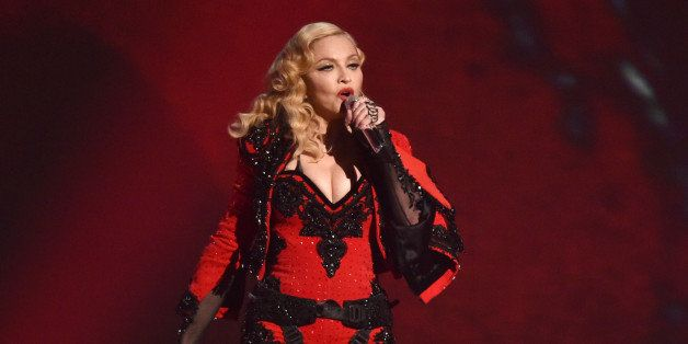 Madonna performs at the 57th annual Grammy Awards on Sunday, Feb. 8, 2015, in Los Angeles. (Photo by John Shearer/Invision/AP