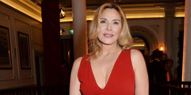 LONDON, ENGLAND - NOVEMBER 30:  Kim Cattrall attends a champagne reception at the 60th London Evening Standard Theatre Awards