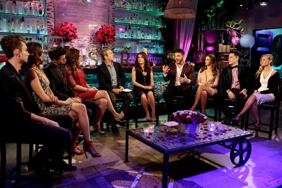 VANDERPUMP RULES -- 'Reunion' -- Pictured: (l-r) James Kennedy, Kristen Doute, Tom Schwartz, Katie Maloney, Andy Cohen, Lisa