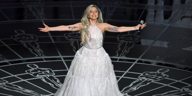 Lady Gaga performs on stage at the Oscars on Sunday, Feb. 22, 2015, at the Dolby Theatre in Los Angeles. (Photo by John Shear