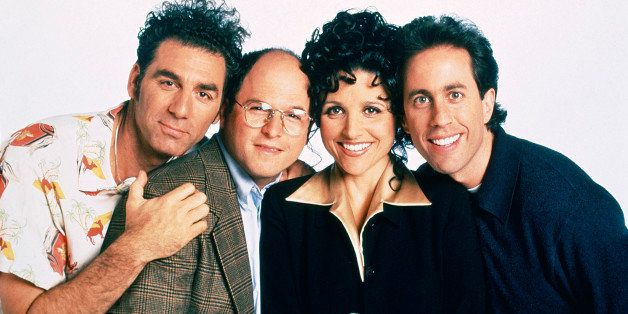 SEINFELD -- Season 9 -- Pictured: (l-r) Michael Richards as Cosmo Kramer, Jason Alexander as George Costanza, Julia Louis-Dre