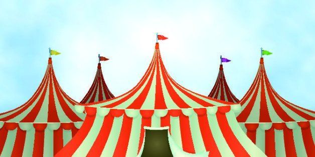 Vector illustration of cartoon circus tents on a blue sky background. Vector eps and high resolution jpeg files included