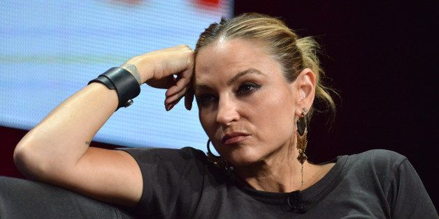 """Drea de Matteo on stage during the """"Sons of Anarchy"""" panel at the The FX 2014 Summer TCA held at the Beverly Hilton Hotel"""