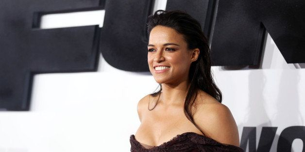"Michelle Rodriguez arrives at the premiere of ""Furious 7"" at the TCL Chinese Theatre IMAX on Wednesday, April 1, 2015, in Los"